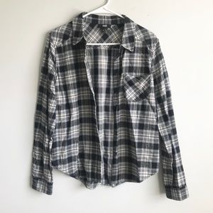 PAIGE Black Plaid Button Down Flannel Shirt